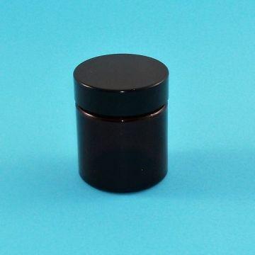 Tarro 30ml de vidrio ámbar con tapa negra rosca