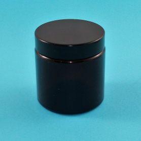 Tarro 120ml de vidrio ámbar con tapa negra rosca