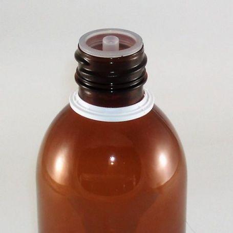 Tapón Blanco PP28 con gotero y precinto para botellas de plástico.